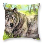 Wolf Summer Throw Pillow