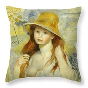 Young Girl With A Straw Hat Throw Pillow