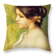 Young Woman With Flowers At Her Ear Throw Pillow