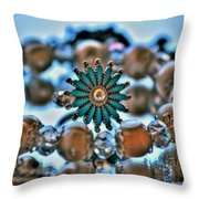 0001 Turquoise And Pearls Throw Pillow