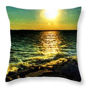 0001 Windy Waves Sunset Rays Throw Pillow