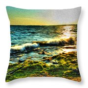 00015 Windy Waves Sunset Rays Throw Pillow