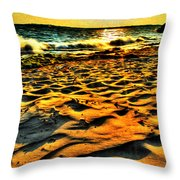 0008 Windy Waves Sunset Rays Throw Pillow