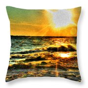 0009 Windy Waves Sunset Rays Throw Pillow
