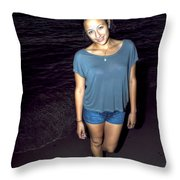 001 A Sunset With Eyes That Smile Soothing Sounds Of Waves For Miles Portrait Series Throw Pillow