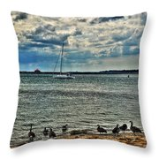 001 On A Summers Day  Erie Basin Marina Summer Series Throw Pillow