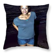 002 A Sunset With Eyes That Smile Soothing Sounds Of Waves For Miles Portrait Series Throw Pillow