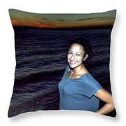 003 A Sunset With Eyes That Smile Soothing Sounds Of Waves For Miles Portrait Series Throw Pillow