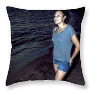 004 A Sunset With Eyes That Smile Soothing Sounds Of Waves For Miles Portrait Series Throw Pillow