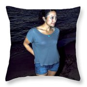 005 A Sunset With Eyes That Smile Soothing Sounds Of Waves For Miles Portrait Series Throw Pillow