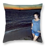 006 A Sunset With Eyes That Smile Soothing Sounds Of Waves For Miles Portrait Series Throw Pillow