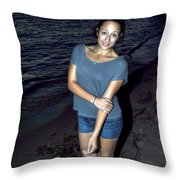 007 A Sunset With Eyes That Smile Soothing Sounds Of Waves For Miles Portrait Series Throw Pillow
