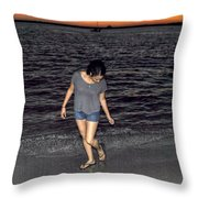 008 A Sunset With Eyes That Smile Soothing Sounds Of Waves For Miles Portrait Series Throw Pillow