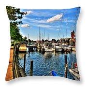 008 On A Summers Day  Erie Basin Marina Summer Series Throw Pillow
