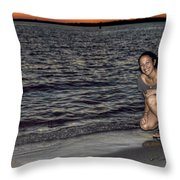 009 A Sunset With Eyes That Smile Soothing Sounds Of Waves For Miles Portrait Series Throw Pillow