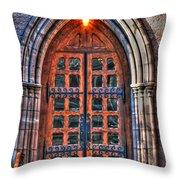 01 Church Doors Throw Pillow