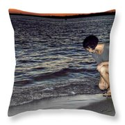 011 A Sunset With Eyes That Smile Soothing Sounds Of Waves For Miles Portrait Series Throw Pillow
