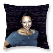 012 A Sunset With Eyes That Smile Soothing Sounds Of Waves For Miles Portrait Series Throw Pillow