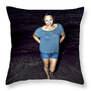 013 A Sunset With Eyes That Smile Soothing Sounds Of Waves For Miles Portrait Series Throw Pillow