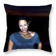 014 A Sunset With Eyes That Smile Soothing Sounds Of Waves For Miles Portrait Series Throw Pillow