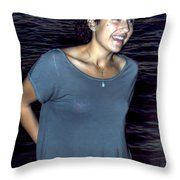 015 A Sunset With Eyes That Smile Soothing Sounds Of Waves For Miles Portrait Series Throw Pillow