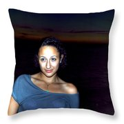 016 A Sunset With Eyes That Smile Soothing Sounds Of Waves For Miles Portrait Series Throw Pillow