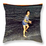 017 A Sunset With Eyes That Smile Soothing Sounds Of Waves For Miles Portrait Series Throw Pillow
