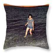 018 A Sunset With Eyes That Smile Soothing Sounds Of Waves For Miles Portrait Series Throw Pillow