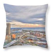 022 Series Of Buffalo Ny Via Birds Eye Downtown Buffalo Ny Throw Pillow