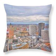 037 Series Of Buffalo Ny Via Birds Eye Downtown Buffalo Throw Pillow