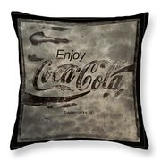 Coca Cola Sign Grungy Red Retro Style Throw Pillow