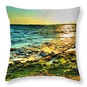 00013 Windy Waves Sunset Rays Throw Pillow