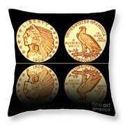 1908 Indian Head Five Dollar Gold Coin  Throw Pillow