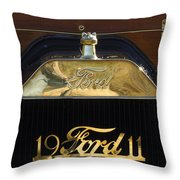 1911 Ford Model T Torpedo Hood Ornament Throw Pillow