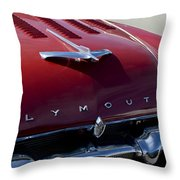 1956 Plymouth Hood Ornament Throw Pillow