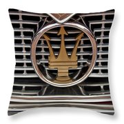 1960 Maserati 3500 Gt Coupe Emblem Throw Pillow
