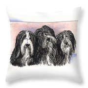 3 Bearded Ladies Throw Pillow