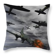 A B-17 Flying Fortress Is Set Ablaze Throw Pillow