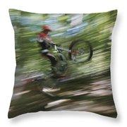 A Boy Flies Through The Air Throw Pillow