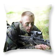 A British Soldier Armed With A Sa80 Throw Pillow
