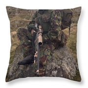 A British Soldier Armed With A Sniper Throw Pillow
