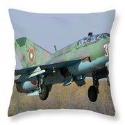A Bulgarian Air Force Mig-21um Jet Throw Pillow by Anton Balakchiev