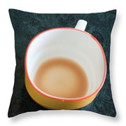 A Cup With The Remains Of Tea On A Green Table Throw Pillow