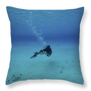 A Diver On A Scooter Explores The Clear Throw Pillow