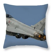 A Eurofighter F-2000 Of The Italian Air Throw Pillow
