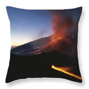 A Fiery New Cone On Mount Etna Upstages Throw Pillow