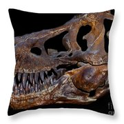 A Genuine Fossilized Skull Of A T. Rex Throw Pillow