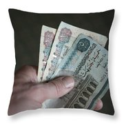 A Hand Holds Egyptian Pounds In Cash Throw Pillow