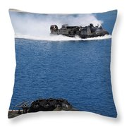 A Landing Craft Air Cushion Approaches Throw Pillow