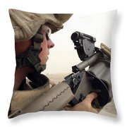 A Marine Aims In With A M-32 Multiple Throw Pillow